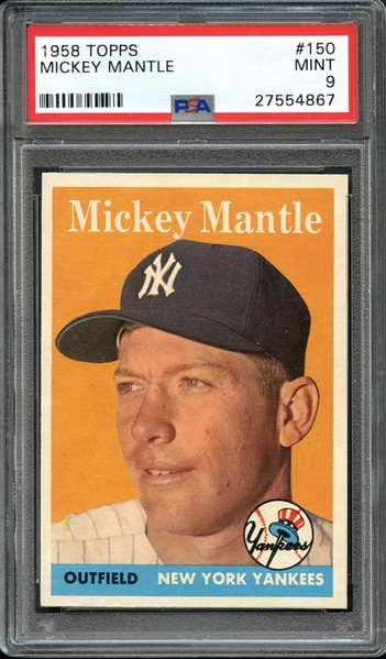 1958 Topps #150 Mickey Mantle PSA 9 MINT