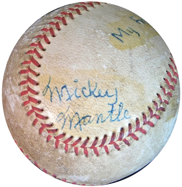 Spectacular 1949 Mickey Mantle Signed and Dated Baseball- The Earliest Known (Dated) Single Signed Example Of A Ball As A Professional PSA/DNA, JSA