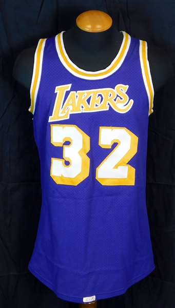 Amazing Rookie Era 1980-85 Magic Johnson Los Angeles Lakers Game-Used and Autographed Road Jersey MEARS A10