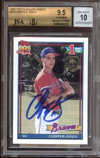 1991 Topps Desert Shield #333 Chipper Jones Autographed BGS 9.5 AUTO 10