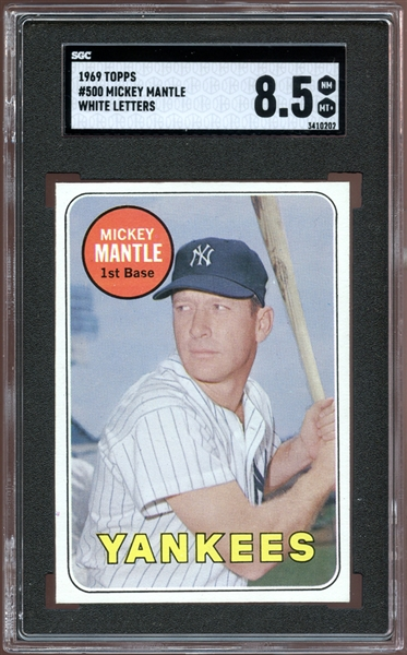 1969 Topps #500 Mickey Mantle White Letters SGC 8.5 NM/MT+