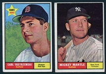 1961 Topps #237 Carl Yastrzemski and #300 Mickey Mantle