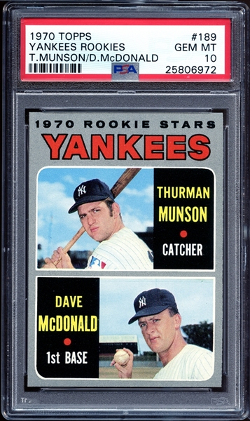 1970 Topps #189 Thurman Munson PSA 10 GEM MINT