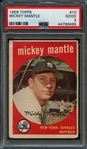 1959 Topps #10 Mickey Mantle PSA 2 GOOD