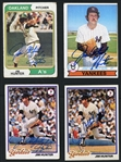 1974-79 Catfish Hunter Group of 4 Signed Topps Cards JSA Authentic