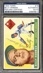 1955 Topps #19 Billy Herman Autographed PSA/DNA AUTHENTIC