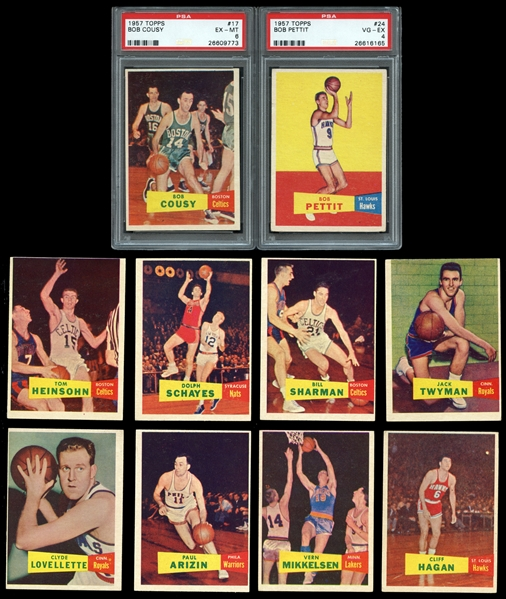 1957 Topps Basketball Near-Complete Set (79/80) with PSA Graded