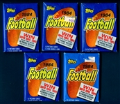 1984 Topps Football Unopened Wax Pack Group of (5)