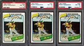 1980 Topps #482 Rickey Henderson Group of (3) All PSA 8 NM/MT