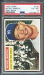 1956 Topps #135 Mickey Mantle Gray Back PSA 6 EX-MT