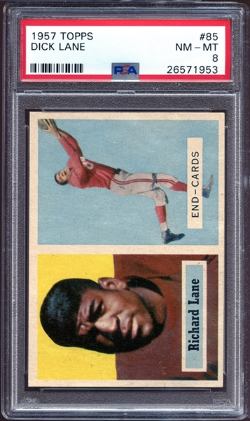 1957 Topps #85 Dick Lane PSA 8 NM/MT