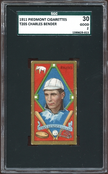 1911 T205 Gold Border Charles Bender SGC 30 GOOD 2