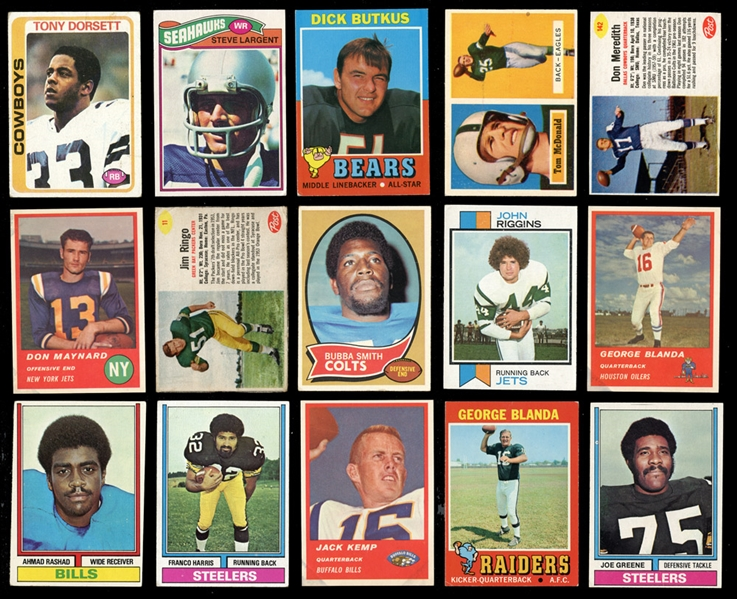 1950s-1980s Topps, Bowman and Fleer Football Large Collection of Over 1000 Cards