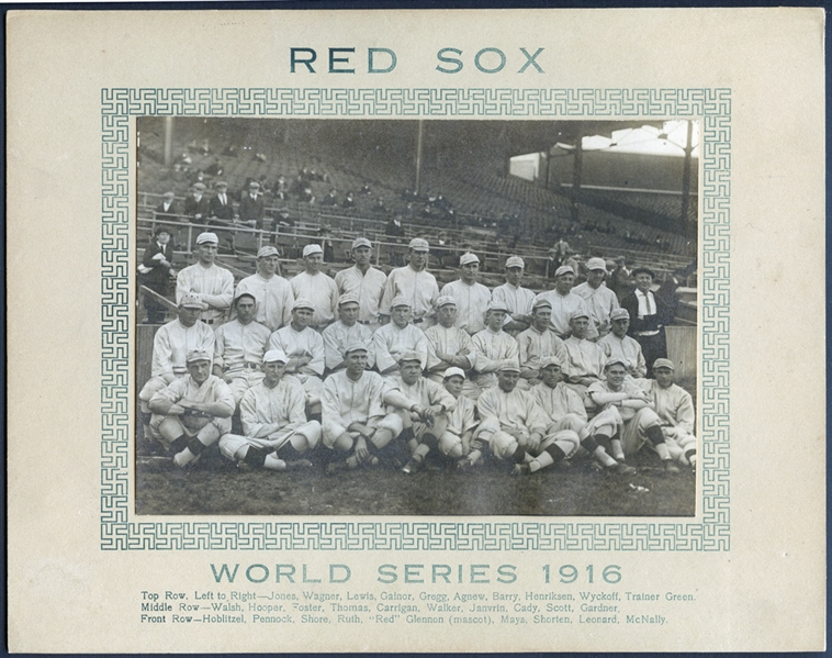 1916 Boston Red Sox Cabinet Photo Featuring Babe Ruth-The Finest Example Weve Ever Offered