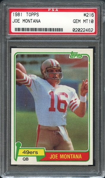 1981 Topps #216 Joe Montana PSA 10 GEM MINT