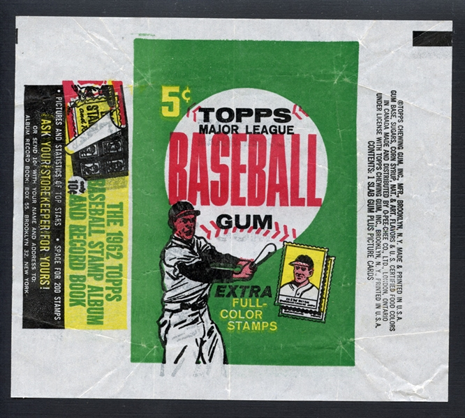 1962 Topps Baseball 5-Cent Wrapper
