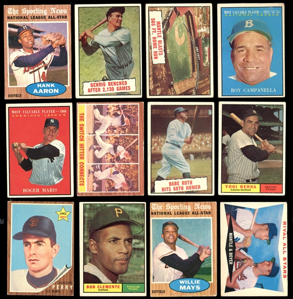 1961-62 Topps Baseball Shoebox Group of over (125) with HOFers