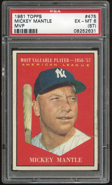 1961 Topps #475 Mickey Mantle MVP PSA 6 EX-MT (ST)