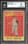 1958 Topps #487 Mickey Mantle All Star BVG 5 EX