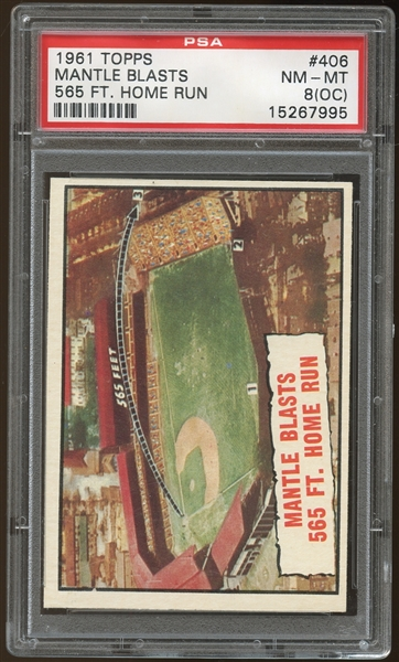 1961 Topps #406 Mickey Mantle HL PSA 8 NM-MT (OC)