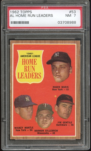1962 Topps #53 AL Home Run Leaders PSA 7 NM