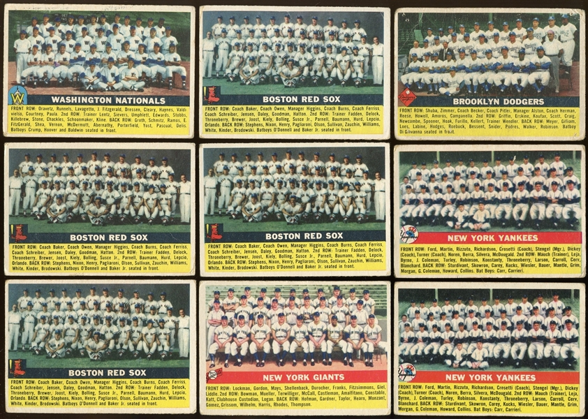 1956 Topps Team Cards Lot of 43 Yankees, Dodgers, Cubs, ETC