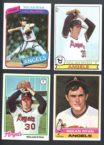 1976-1980 Topps Nolan Ryan Group of (4)