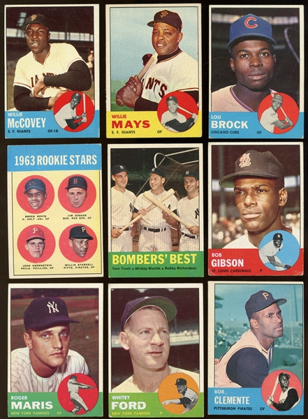1963 Topps Group of 290 with Hall of Famers