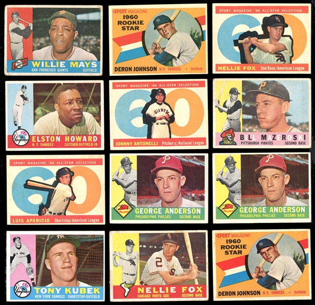 1960 Topps Baseball Group of (225) Cards with Stars and HOFers