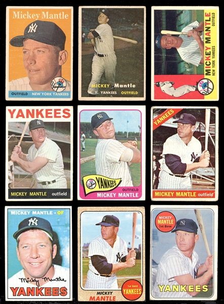1958-1969 Topps Mickey Mantle Group of (9) Cards
