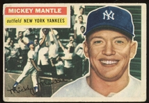1956 Topps #135 Mickey Mantle White Back