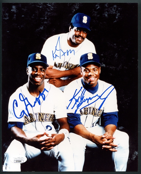 Griffey Family Signed 8x10 Photo with Ken Griffey Sr., Ken Griffey Jr. and Craig Griffey JSA