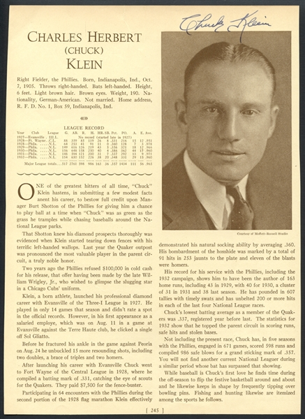 Chuck Klein Signed Magazine Page