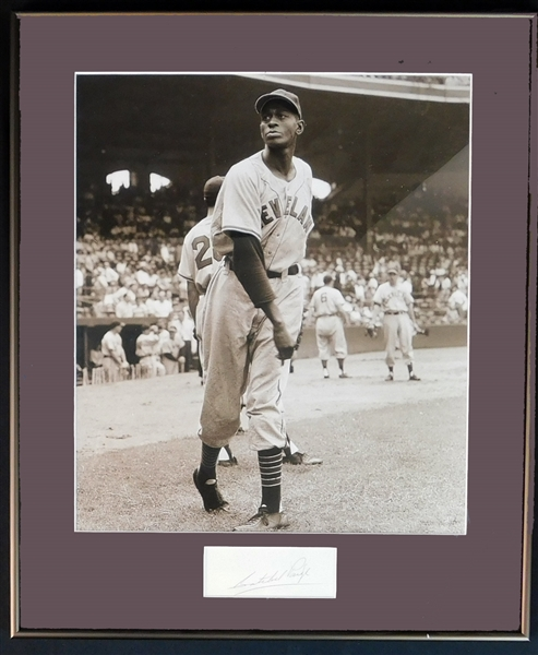 Satchel Paige Cut Signature in Framed Display JSA From Brearley Collection
