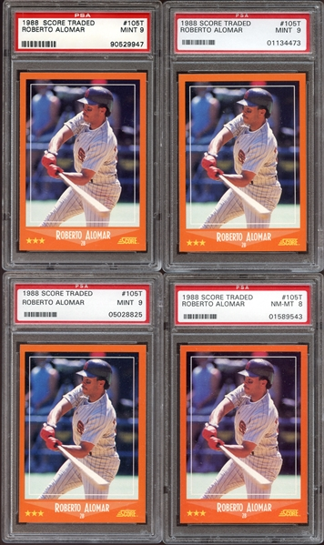 1988 Score Traded #105T Roberto Alomar Group of (4) All PSA Graded