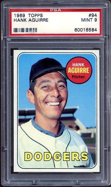 1969 Topps #94 Hank Aguirre PSA 9 MINT