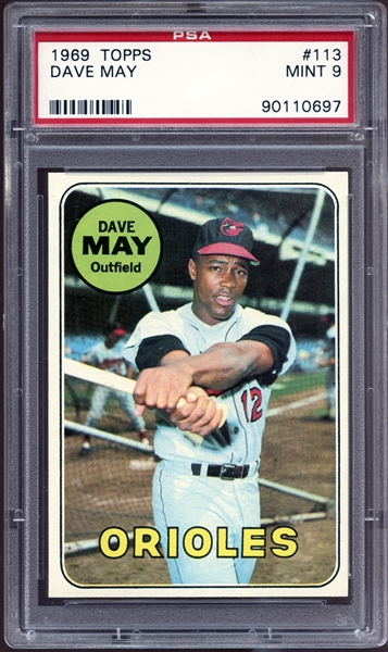 1969 Topps #113 Dave May PSA 9 MINT