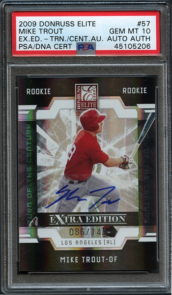 2009 Donruss Elite #57 Mike Trout Extra Edition Turn of the Century Auto PSA/DNA CERT PSA 10 GEM MINT AUTO AUTH