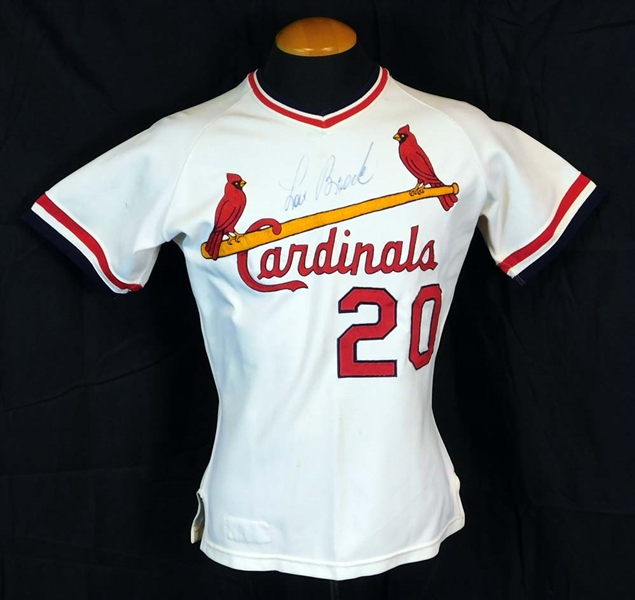 1976 Lou Brock St. Louis Cardinals Game-Used and Signed Home Jersey Sports Investors Authentication