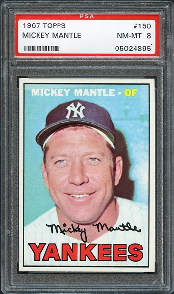 1967 Topps #150 Mickey Mantle PSA 8 NM-MT
