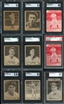 1913-1940 Pre-War Graded Lot of (9) Cards