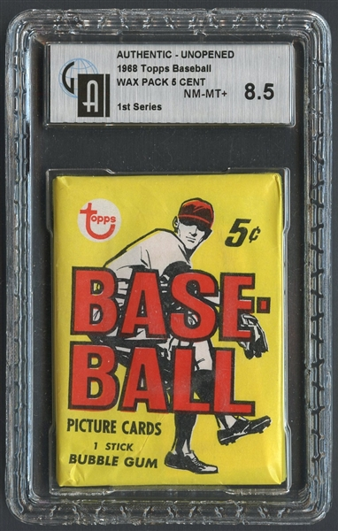 1968 Topps Baseball 1st Series 5 Cent Unopened Wax Pack GAI 8.5 NM-MT