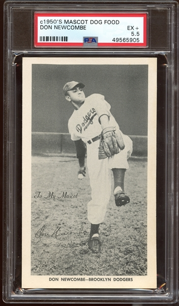Exceptionally Rare 1954 Mascot Dog Food Don Newcombe PSA 5.5 EX+