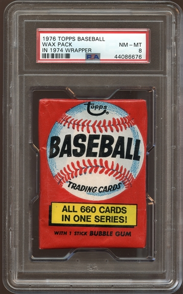 1976 Topps Baseball Unopened Wax Pack in 1974 Wrapper PSA 8 NM/MT