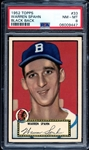 1952 Topps #33 Warren Spahn Black Back PSA 8 NM/MT