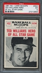 1961 NU-Card Scoops #452 Ted Williams Hero Of All-Star Game PSA 5 EX