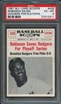 1961 NU-Card Scoops #428 Robinson Saves Dodgers for Playoff PSA 6 EX-MT