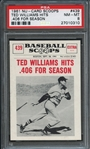 1961 NU-Card Scoops #452 Ted Williams Hero of All-Star Game PSA 8 NM-MT