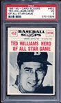 1961 Nu-Card Scoops #452 Ted Williams Hero of All Star Game PSA 3 VG