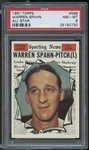 1961 Topps #589 Warren Spahn All Star PSA 8 NM-MT